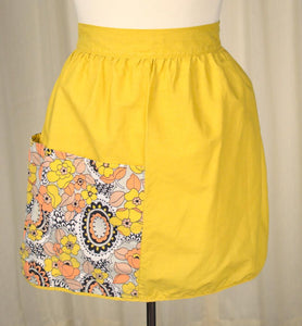 Mustard Floral Apron - Cats Like Us