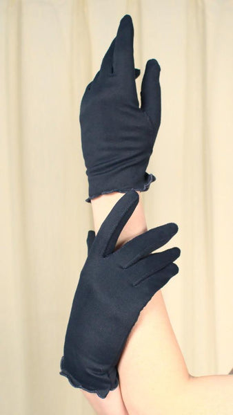 Navy Scallop Hem Gloves