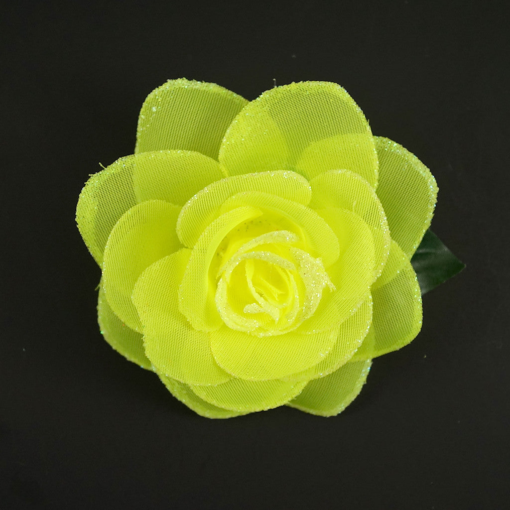 Neon Yellow Glitter Rose Flower by Cats Like Us : Cats Like Us