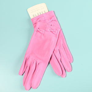 NOS Short Pink Bow Vintage Gloves