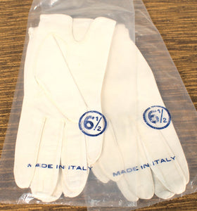 NOS Short White Leather Gloves