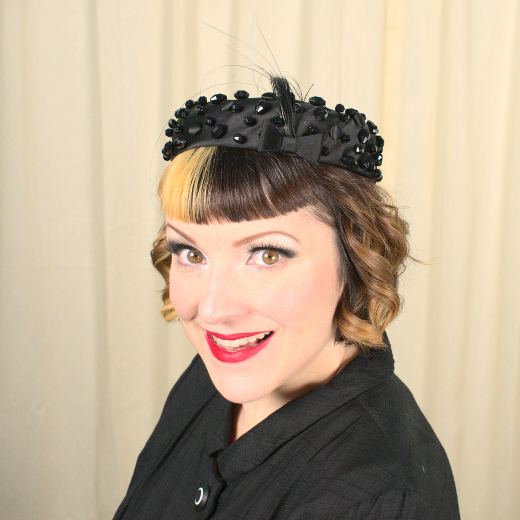 Vintage NWT 1950s Beaded Crown Hat