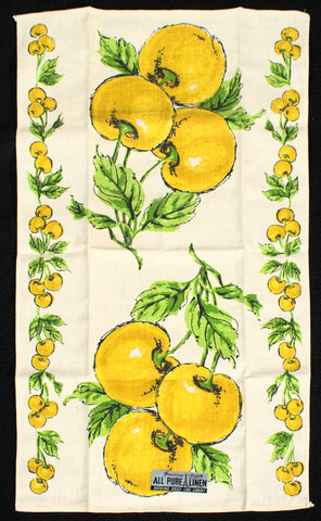 NWT Yellow Cherries Tea Towel