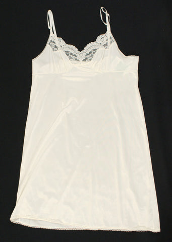 Off White Lacy Bodice Vintage Full Slip