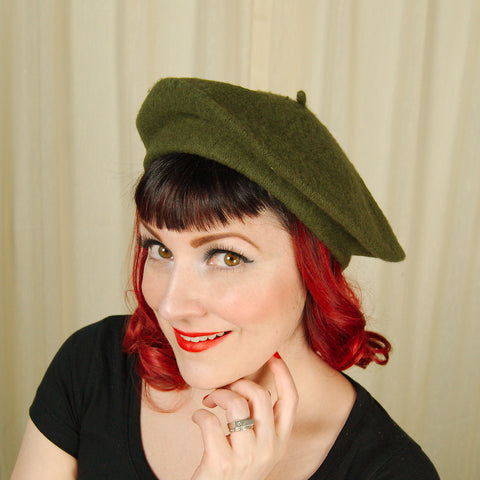 Olive Green Wool Beret Hat by Cats Like Us : Cats Like Us