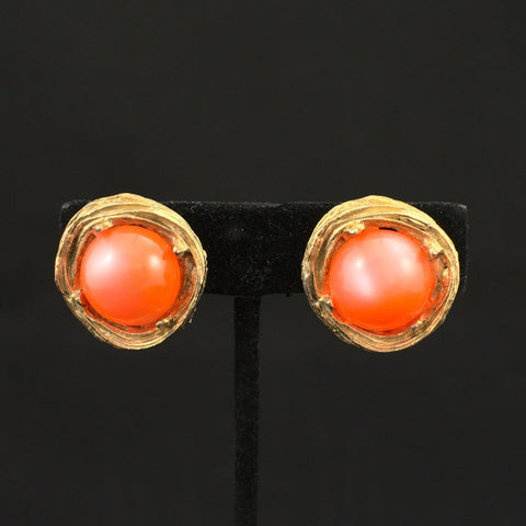 Orange & Gold Nest Earrings - Cats Like Us