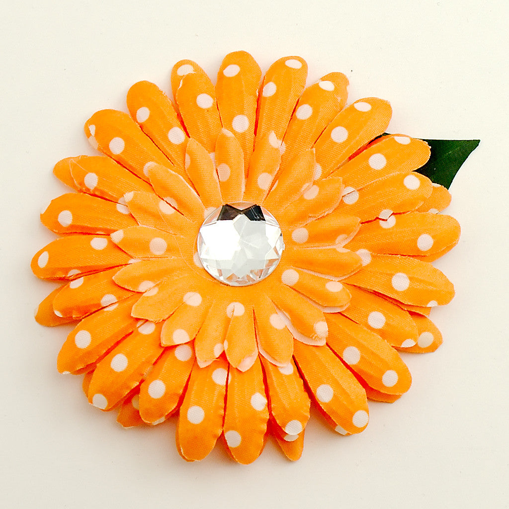 Orange Dot Daisy Hair Flower by Cats Like Us : Cats Like Us
