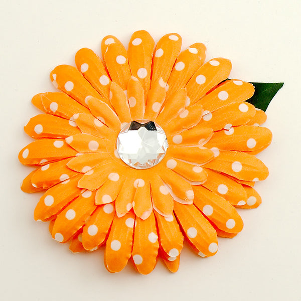 Cats Like Us Orange Dot Daisy Hair Flower for sale at Cats Like Us - 1