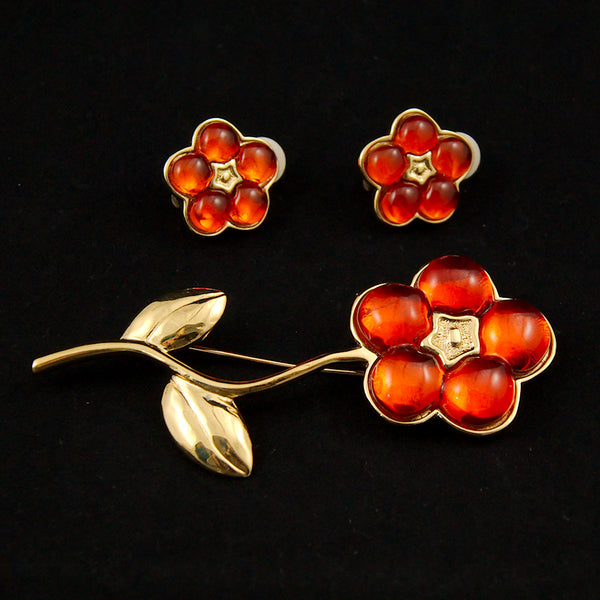 Orange Flower Brooch Set