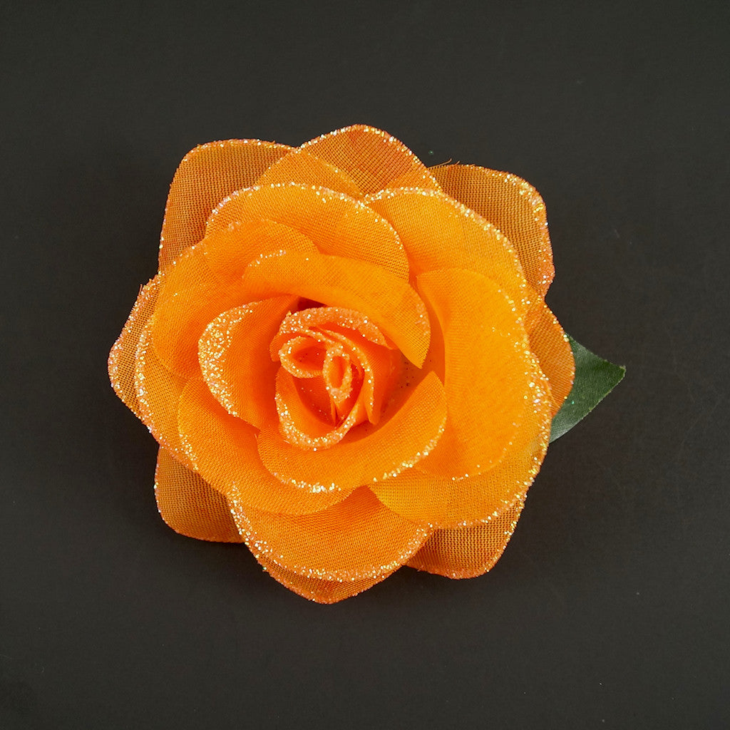 Orange Glitter Rose Hair Flower by Cats Like Us : Cats Like Us