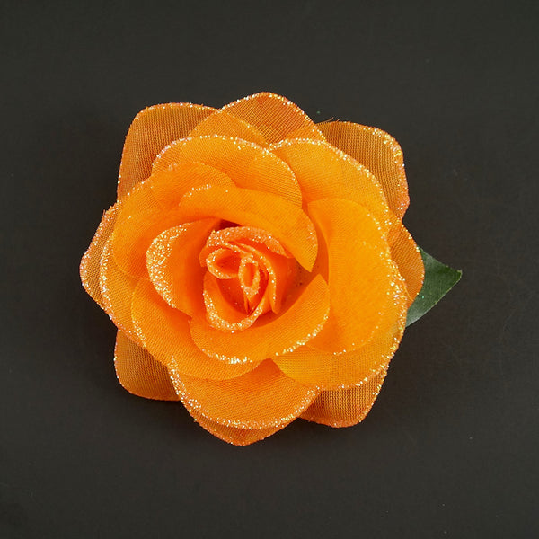Cats Like Us Orange Glitter Rose Hair Flower for sale at Cats Like Us - 1