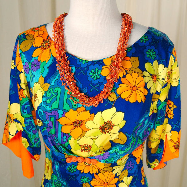 Orange Sequin Tiki Necklace - Cats Like Us