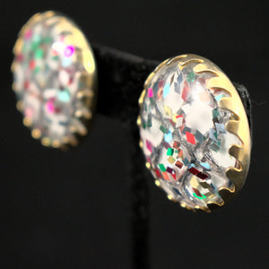 Party Confetti Vintage Lucite Earrings