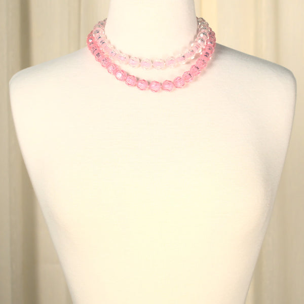 Pastel Pink Vintage Pop Bead Necklace