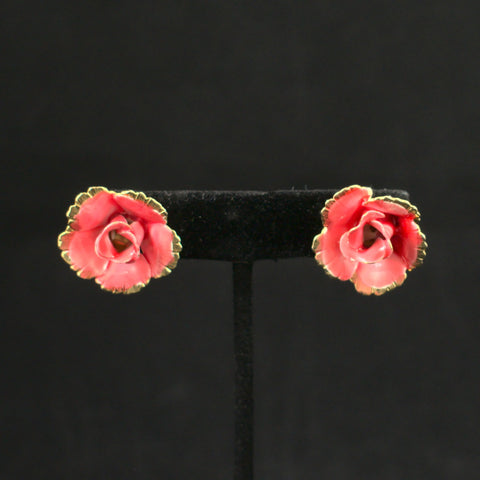 Vintage Peach Rose Earrings
