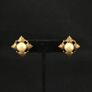 Pearl & Bronze Tile Vintage Earrings