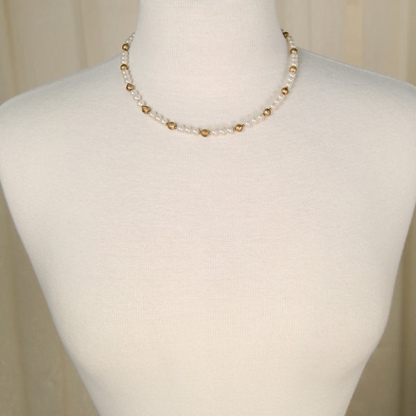 Pearl & Gold Bead Necklace