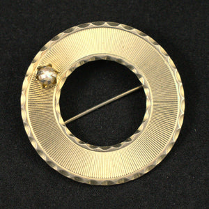 Pearl & Gold Circle Vintage Brooch