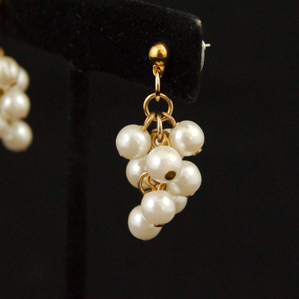 Pearl Cluster Dangling Earrings