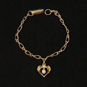 Pearl in a Heart Charm Bracelet - Cats Like Us