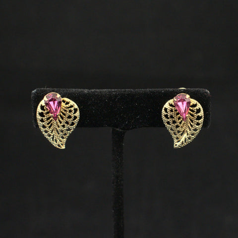 Pink & Gold Leaf Vintage Earrings
