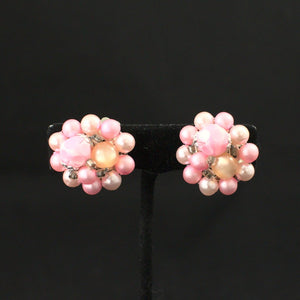 Pink Cluster Pearl Earrings - Cats Like Us