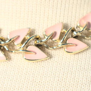Pink Enamel Leaf Jewelry Set