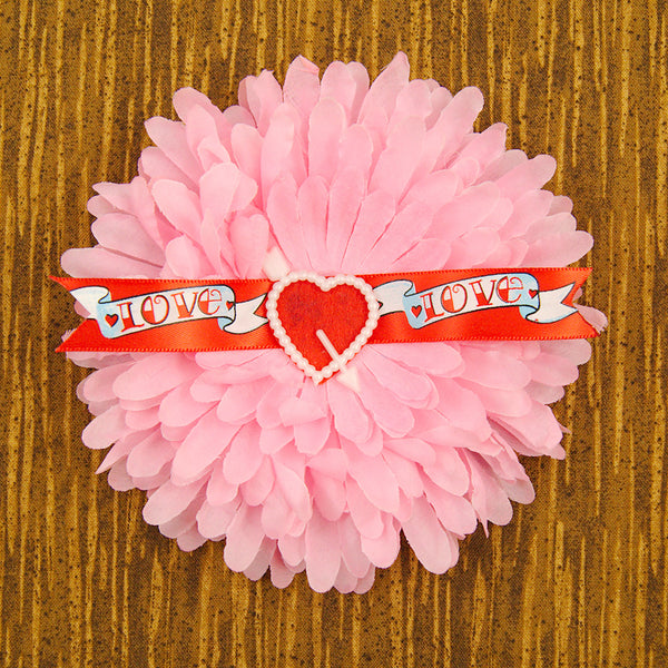 Cats Like Us Pink Love Banner Hair Flower for sale at Cats Like Us - 1