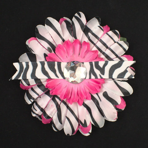 Pink Zebra Ribbon Hair Flower - Cats Like Us