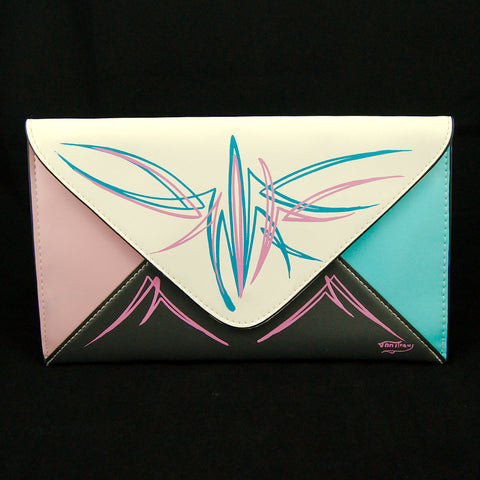 Pinstriped Envelope Clutch Bag