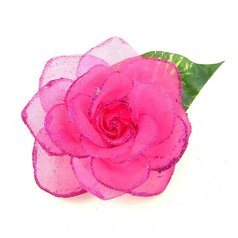 Raspberry Rose Glitter Flower - Cats Like Us