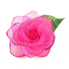 Raspberry Rose Glitter Flower