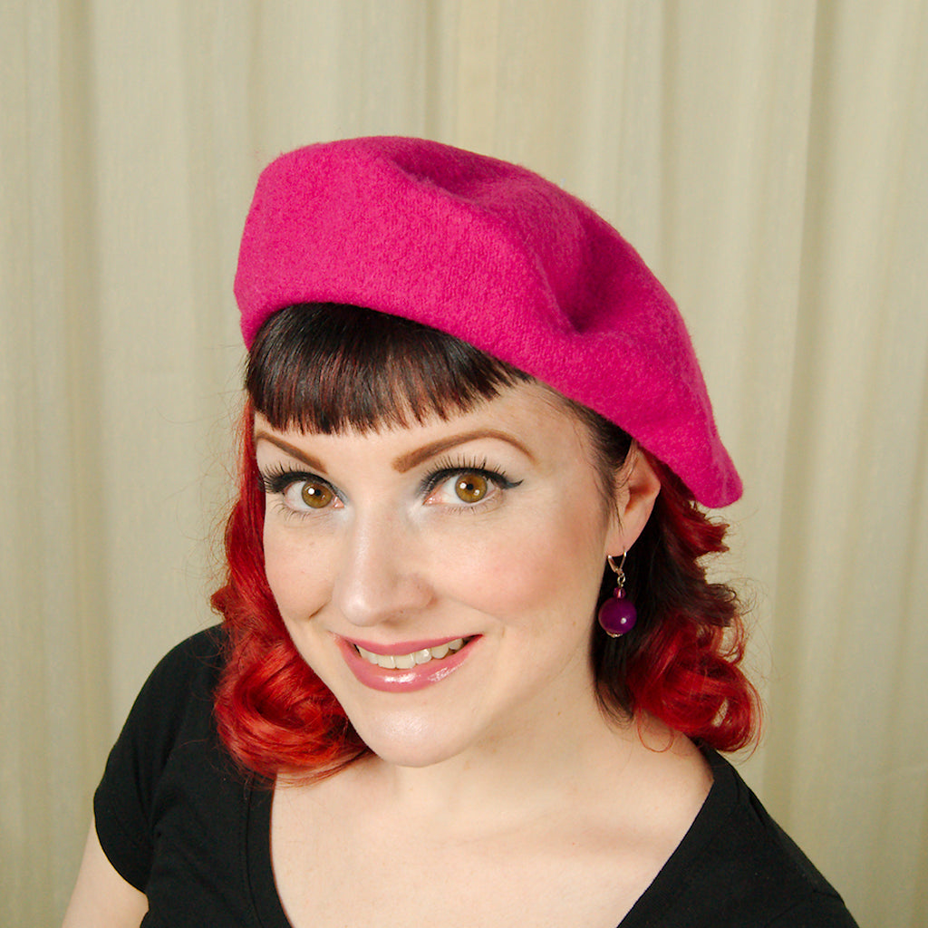 Raspberry Wool Beret Hat by Cats Like Us : Cats Like Us