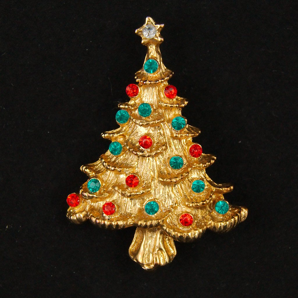 Red & Green Christmas Tree Pin