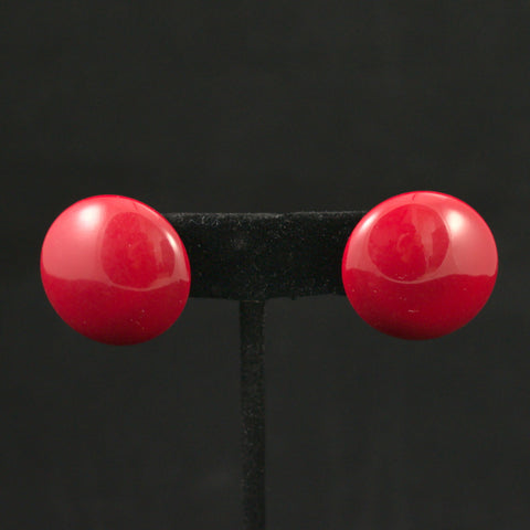 Vintage Red Dot Button Earrings