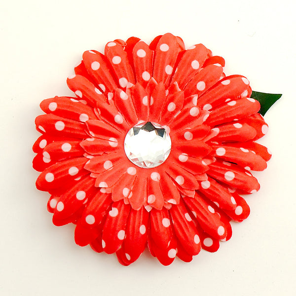 Red Dot Daisy Hair Flower by Cats Like Us