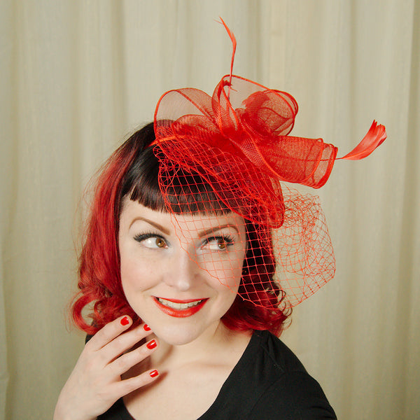 Red Fascinator Headband by Cats Like Us : Cats Like Us