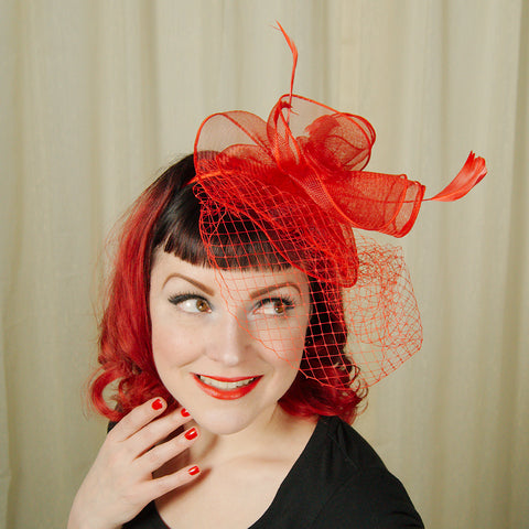 Red Fascinator Headband - Cats Like Us