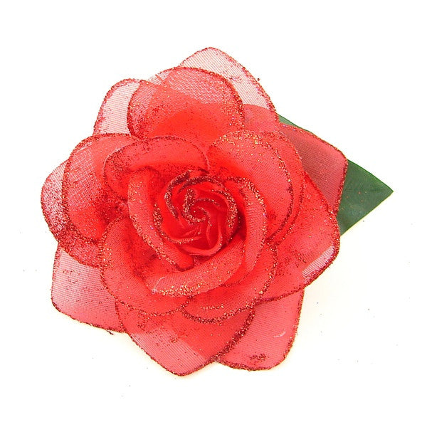 Red Glitter Rose Hair Flower by Cats Like Us