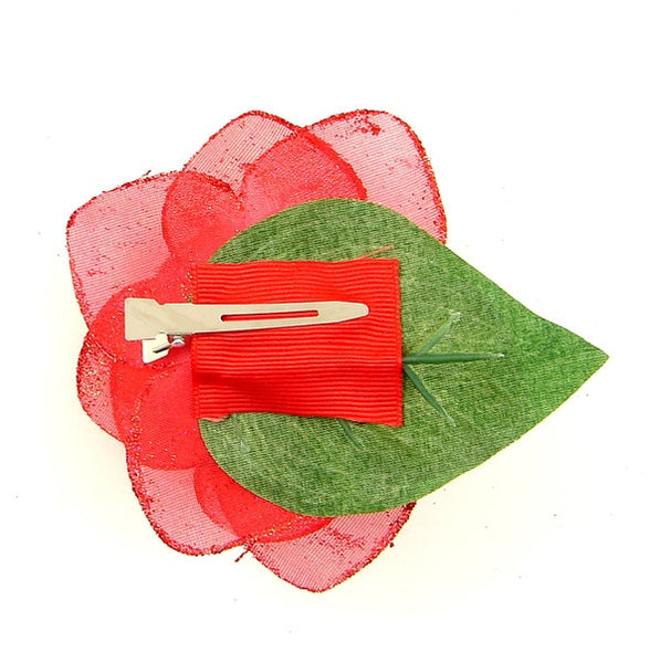 Cats Like Us Red Glitter Rose Hair Flower for sale at Cats Like Us - 2