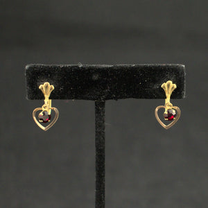 Red Rhinestone Heart Earrings