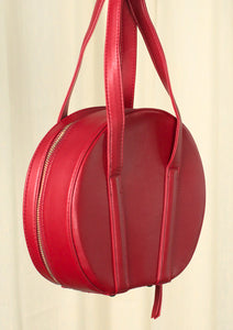 Red Round Bowling Handbag Purse