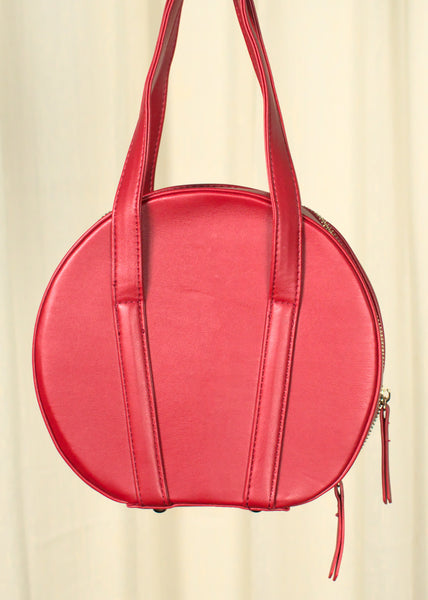 Vintage Red Round Bowling Handbag Purse