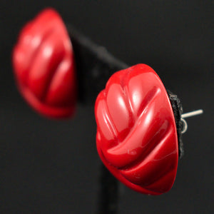 Red Swirl Dot Vintage Earrings