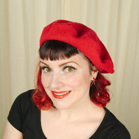 Red Wool Beret Hat - Cats Like Us