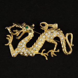 Rhinestone Dragon Brooch