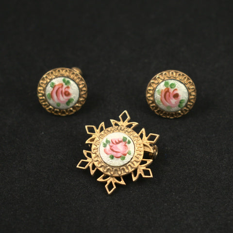 Vintage Rose Enamel Pin & Earring Set
