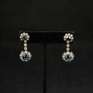 Round Blue Rhinestone Vintage Earrings