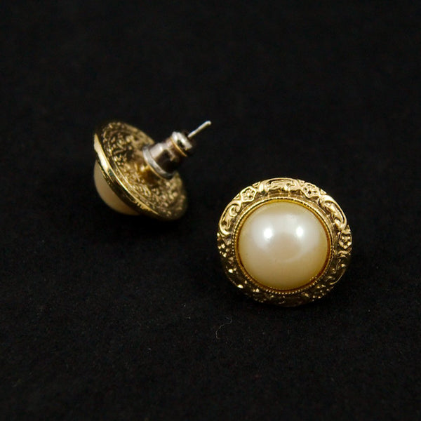 Round Gilded Pearl Earrings