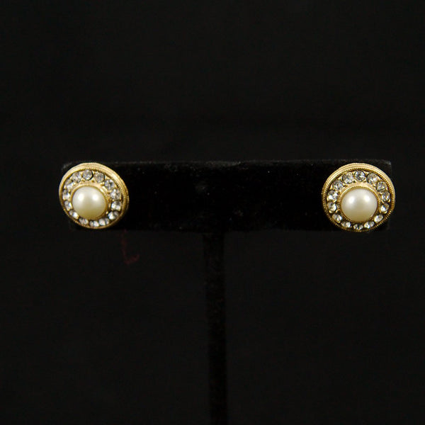 Round Pearl Rhinestone Earrings